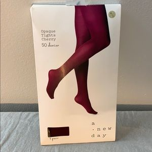 NWT Opaque Tights Cherry M/L